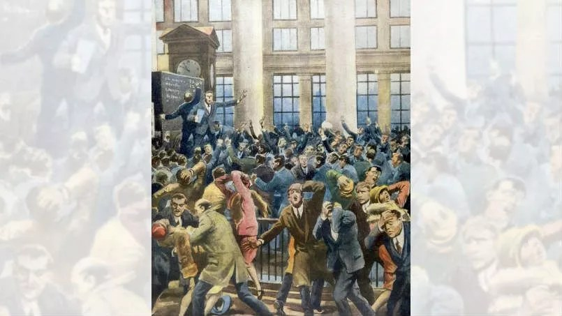 Le «jeudi noir» à Wall Street vu par le journal italien <i>Illustrazione del popolo.</i>