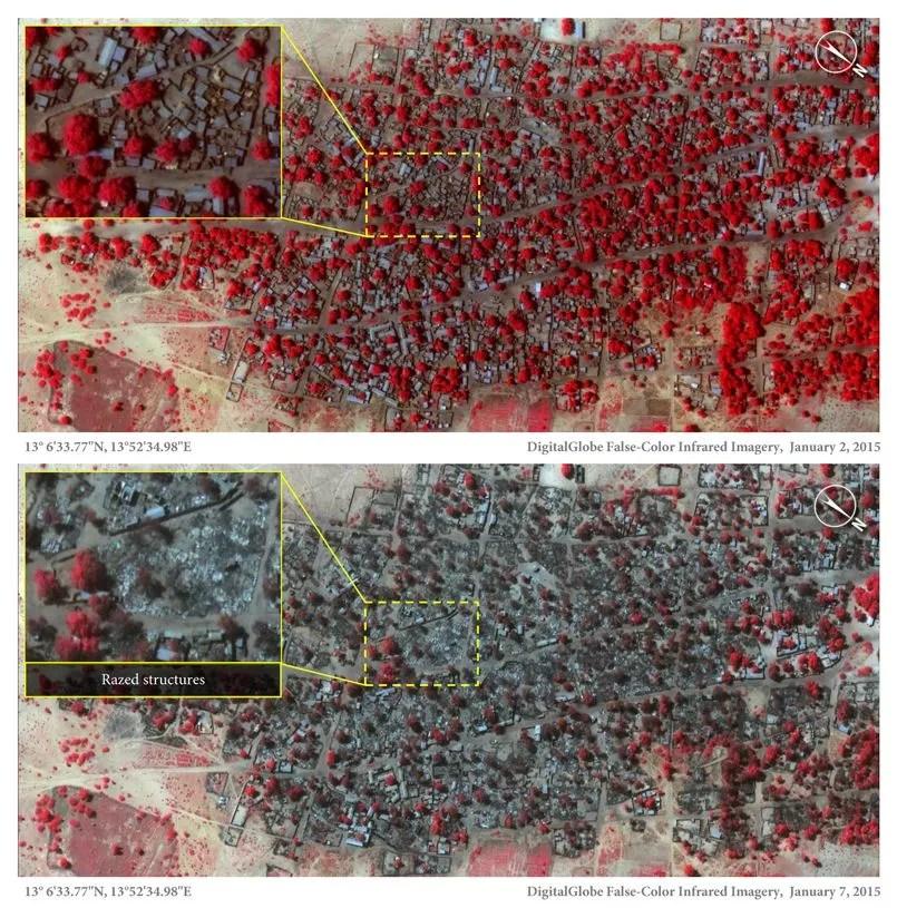 Images satellites de Baga et Doron Baga, à 2,5 kilomètres de distance, qui montrent l'ampleur des ravage