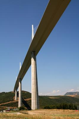 Closeup of Millau Bridge in France. Copyright Le Franco Phoney, based in La Clusaz, France.