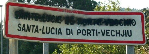 Corsican road sign