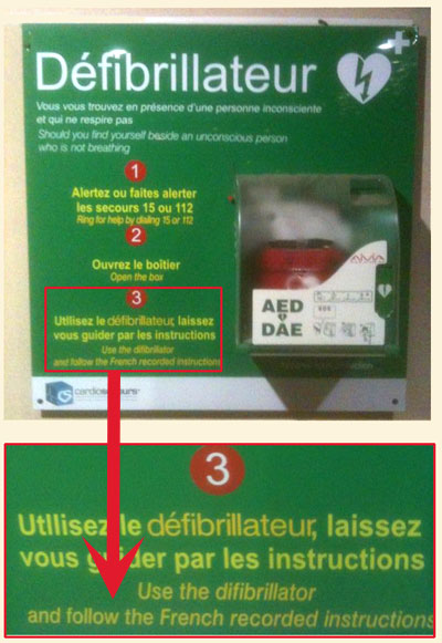 French defibrillator instructions