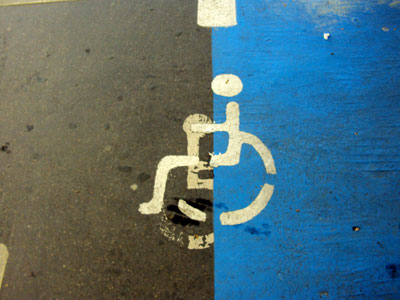Shocking disabled image at French supermarket chain Carrefour Annecy, France