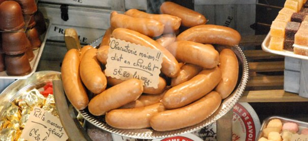 <Picture of chocolate sausages in Annecy, France>