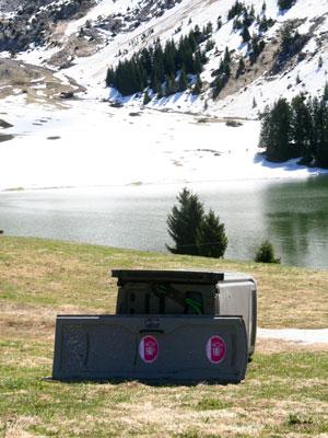 <A dead portable toilet at Lac des Confins, La Clusaz, France>