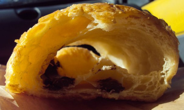 <Photo of French pain au chocolat full of air>