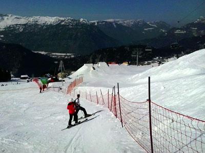 <Photo of the SFR Tour slopestyle course on Le Cret de Loup. Copyright Le Franco Phoney>