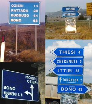 <Photos of all roads leading to Bono in Sardinia'>
