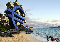 Planet of the Euros, by DonkeyHotey, Flikr, Creative Commons licensed Attribution 2.0 Generic, source image for the European Central Bank sign is a Creative Commons licensed photo from UggBoy?UggGirl's Flickr