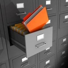 open data file in filing cabinet