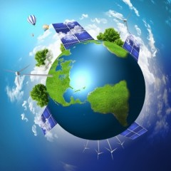 the earth with images of renewable energy