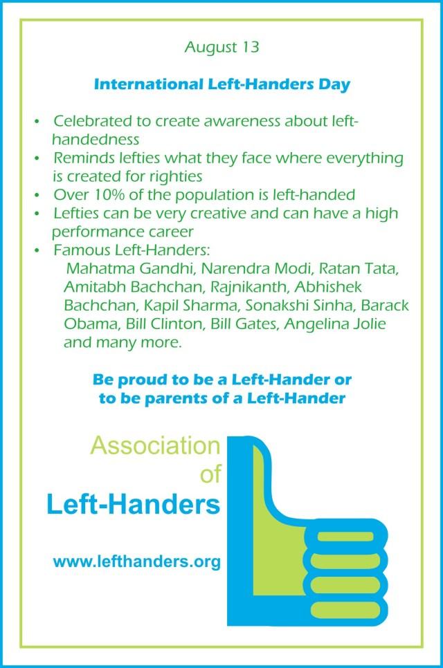 Infographics on International Left-Handers Day - 13-August