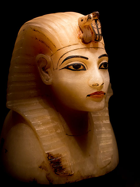This is a lid for a canopic container in the shape of Tutankhamun's head. This 14th century BCE object was found in this young pharaoh's intact KV62 tomb from the 18th Dynasty of Egypt's New Kingdom Image by: ddenisen (D. Denisenkov)