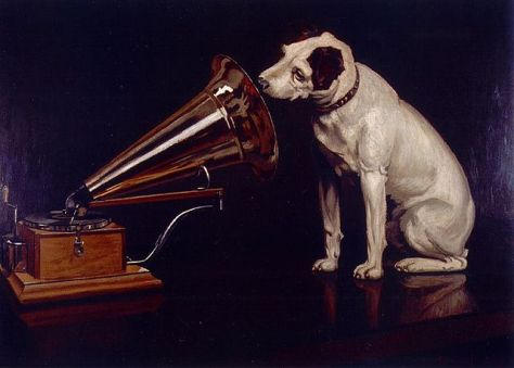 His Master's Voice, Francis Barraud (1856-1924) painted his brother's dog Nipper listening to the horn of an early phonograph during the winter of 1898