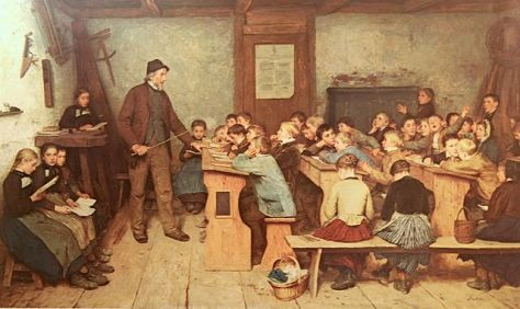 Despite great advances in technology and social research, our learning methods today aren't that much different than what we have in the 19th Century. Painting by: Albert Anker (1831–1910) Die Dorfschule von 1848