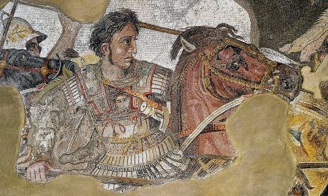 The detail of the Alexander The Great Mosaic, made about 100 B.C.