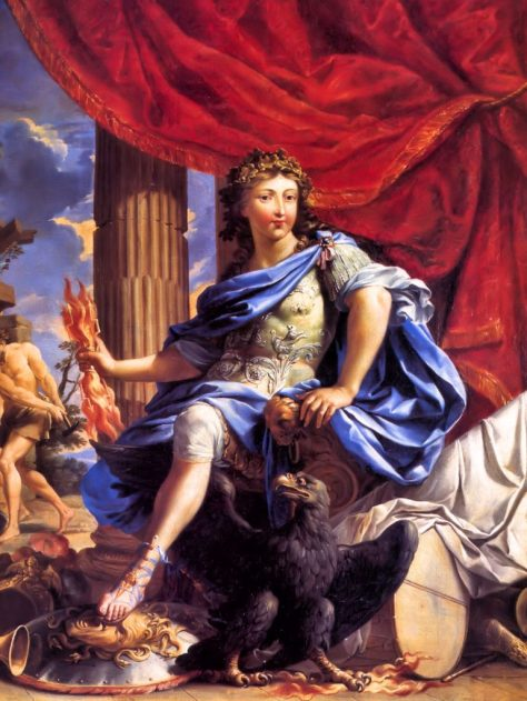 Portrait by Charles Poerson (1667-1609) Louis XIV had himself deified in this painting as the Roman God Jupiter. This king not only imagined himself a God; but the God who runs the show.