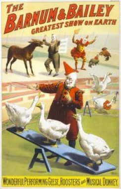 """Clowns might make us laugh, but no one wants to work for one. Poster from Barnum & Bailey Circus, which advertised itself as, """"The greatest show on earth."""""""