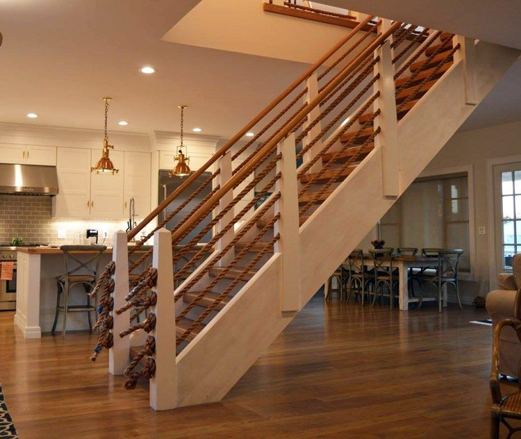 Nautical Rope Point Pleasant Beach Legacy Stairs Millwork Inc | Nautical Rope Stair Railing | Ship Rope | Closed Staircase | Cottage Style | Banister | Minimalistic