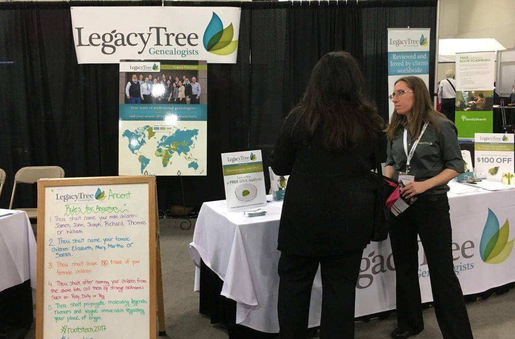 RootsTech 2017 Legacy Tree Genealogists booth