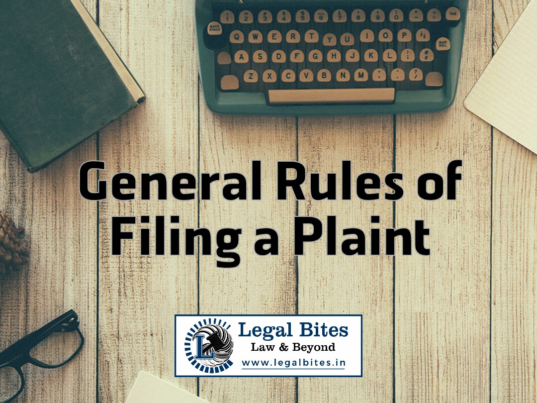 General Rules of Filing a Plaint