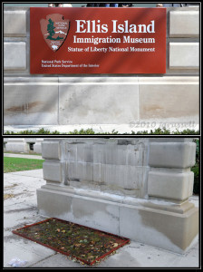 Before and After Sandy: Main sign at Ellis Island