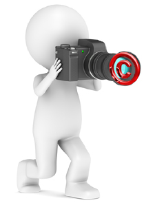 3d little human taking a photo