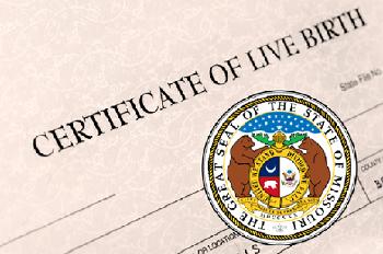 Missouri birth certificate