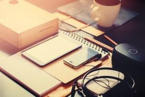Set Business Men Order on Black Office Table. Modern Devices