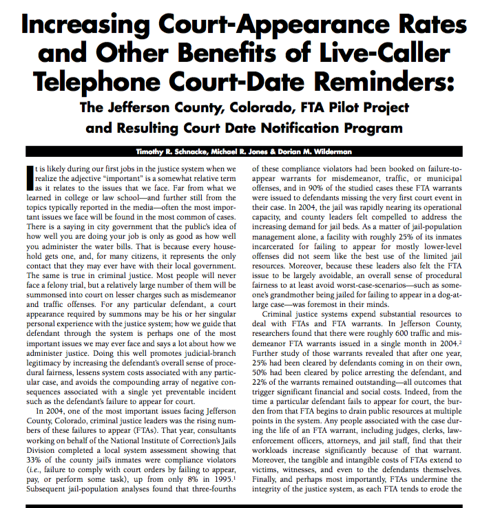 Court Messaging Project - research - increasing court appearance rates with telephone reminders