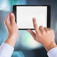 Human Hand, Digital Tablet, Touching.