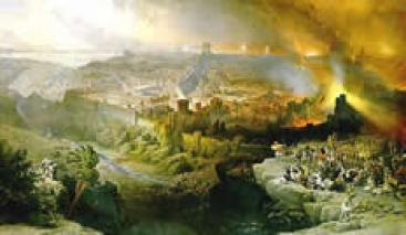 An artist's depiction of the destruction of Jerusalem