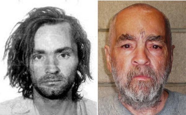 Chales Manson quando foi preso e atualmente