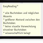 EasyReading, Broschüre, Fonts, Schriftarten, Legasthenie, Lesen, Schule, Kinder, Eltern, Lehrer, Hilfe