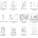 Sommer, Ausmalvorlagen, Aufmerksamkeit, Feinmotorik, AFS-Methode