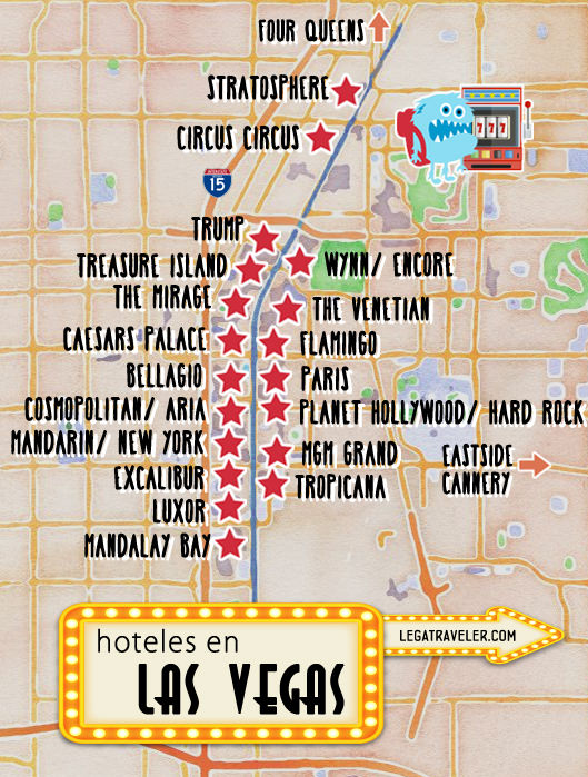 mapa hoteles en las vegas strip