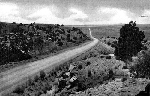 Route 66 between Santa Rosa and Tucumcari, 1949. Image courtesy of NMSU library.