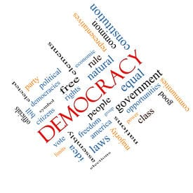 Democracy Word Cloud Concept angled with great terms such as people, rights, vote and more.