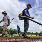 American Legion World Series Volunteer Grounds Crew clean up Veterans Field at Keeter Stadium, Friday, August 11, 2017 in Shelby, N.C.. Photo by Matt Roth/The American Legion.