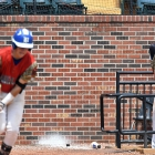 John Howard Bobo of Henderson, Nev., Post 40 reacts to teammate Jesse Fonteboa's infield pop-up against Midland Mich., Post 165 during game 10 of The American Legion World Series on Sunday, August 13, 2017 in Shelby, N.C.. Photo by Matt Roth/The American Legion.