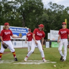 Members of the Midland Mich., Post 165 team (L-R) Zach Schirner, Cole Brooks, and Matt Fisher play pepper before facing off against Omaha, Neb., Post 1 during game 5 of The American Legion World Series on Friday, August 11, 2017 in Shelby, N.C.. Photo by Matt Roth/The American Legion.