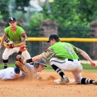 David Hudleson of Henderson, Nev., Post 40 is picked off by Seth Tucker of Bryant, Ark., Post 298 after attempting to steal second base during game 13 of The American Legion World Series on Monday, August 14, 2017 in Shelby, N.C.. Photo by Matt Roth/The American Legion.