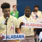 Alabama Nationalist Darius Thomas places one of the first votes of the evening the election process for 2017 American Legion Boys Nation president on Tuesday, July 25, 2017. Photo by Clay Lomneth / The American Legion.