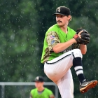 Beaux Bonvillain II of Bryant, Ark., Post 298 pitches against Henderson, Nev., Post 40 during a rainy game 13 of The American Legion World Series on Monday, August 14, 2017 in Shelby, N.C.. Photo by Matt Roth/The American Legion.