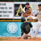 Alex Light of Lewiston, Idaho, Post 13 is forced out at second by William Karp of Hopewell, N.J., Post 339 during game 11 of The American Legion World Series on Sunday, August 13, 2017 in Shelby, N.C.. Photo by Lucas Carter/The American Legion.
