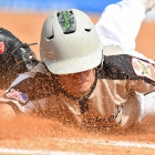 Alex Light of Lewiston, Idaho, Post 13 lands safely under a tag at first base during play against Hopewell, N.J., Post 339 during game 11 of The American Legion World Series on Sunday, August 13, 2017 in Shelby, N.C.. Photo by Lucas Carter/The American Legion.