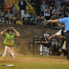 Jake East of Bryant, Ark., Post 298 beats Cam Morrison of Randolph County, N.C., Post 45 to home during game 12 of The American Legion World Series on Sunday, August 13, 2017 at Veterans Field at Keeter Stadium in Shelby, N.C. Photo by Matt Roth/The American Legion.