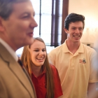 Morgan Marullo, center, and Emmett McComiskey, right meet with Senator John Kennedy (R-LA) as American Legion Boys Nation and American Legion Auxiliary Girls Nation take to Capitol Hill to meet with their senators and legislative staff on Thursday, July 27, 2017. Photo by Lucas Carter / The American Legion.