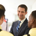 Andrew Wiederkehr and Leon Jones chat with Senator Tom Cotton (R-AR) as American Legion Boys Nation and American Legion Auxiliary Girls Nation take to Capitol Hill to meet with their senators and legislative staff on Thursday, July 27, 2017. Photo by Lucas Carter / The American Legion.