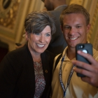 William Galloway takes a selfie with his senator, Joni Ernst (IA-R) in the Senate Reception Room in the US Capitol Building as American Legion Boys Nation and American Legion Auxiliary Girls Nation take to Capitol Hill to meet with their senators and legislative staff on Thursday, July 27, 2017. Photo by Lucas Carter / The American Legion.