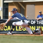 Shrewsbury, Mass., first baseman Dillon Zona forces out Midland, Mich., Gabe Denton during game 1 of The American Legion World Series on Thursday, August 10, 2017 in Shelby, N.C.. Photo by Matt Roth/The American Legion.